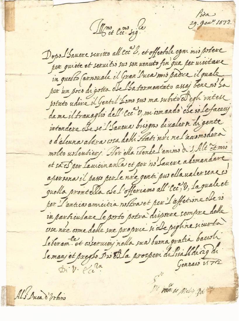 1572 Letter Signed Francesco Di Medici