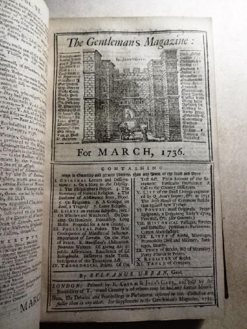 1736 Volume Gentleman's Magazine Leather/ Frontis Globe - 3