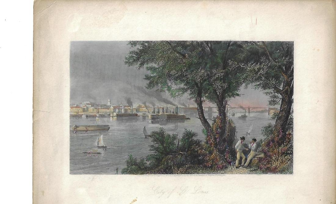 1873 Colored Engraving City of St. Louis