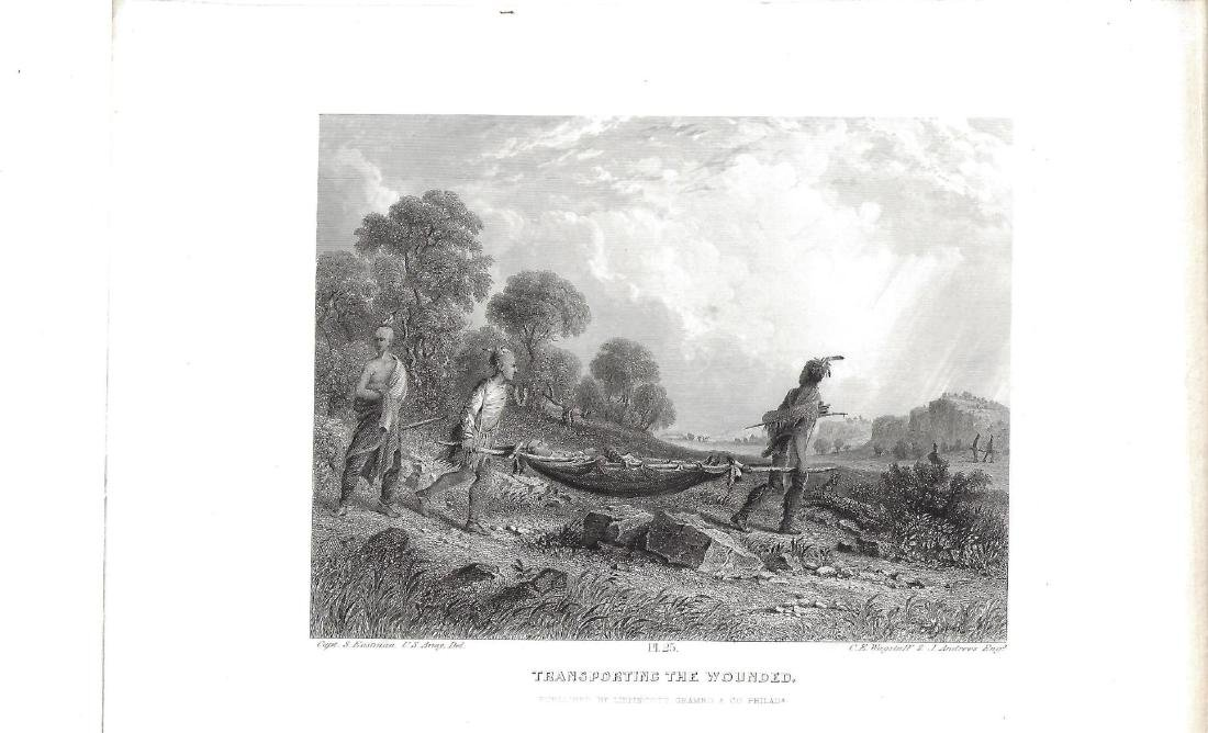 1853 Engraving of Seth Eastman Transporting the Wounded