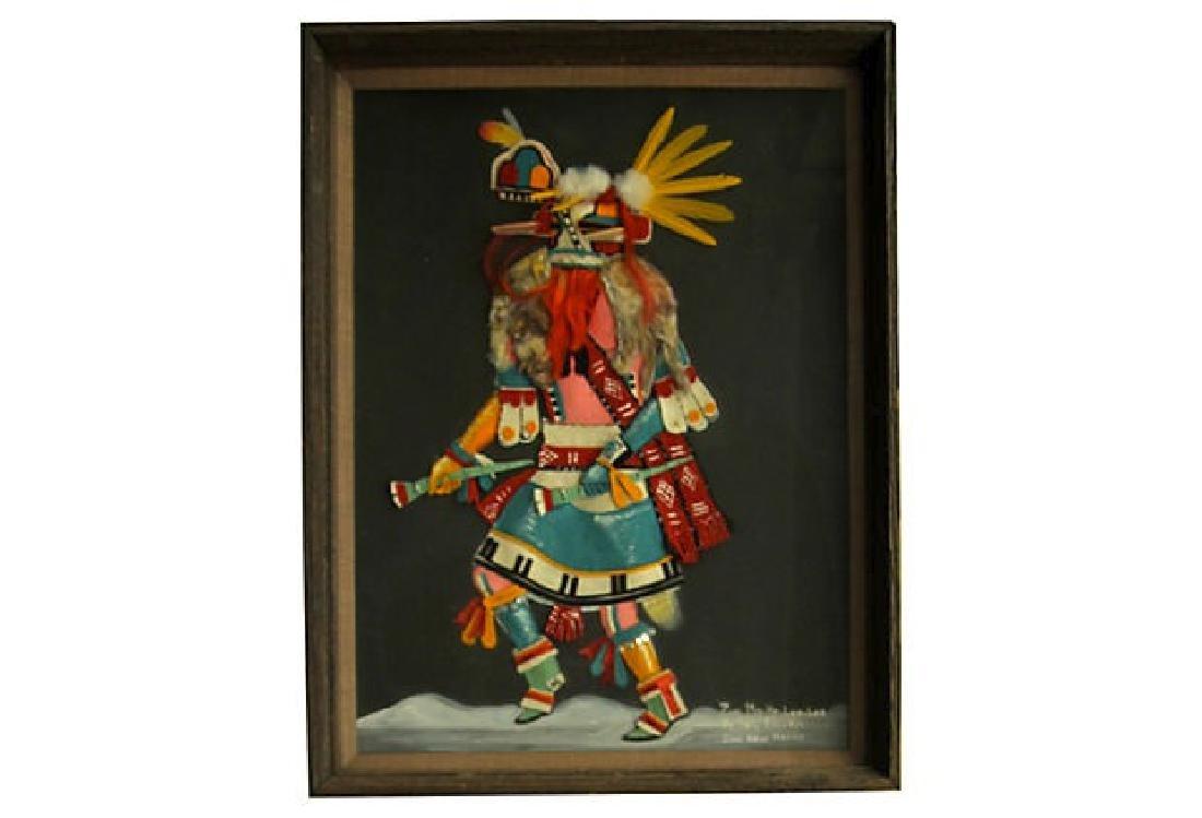Vintage Zuni Dancer Felt Art