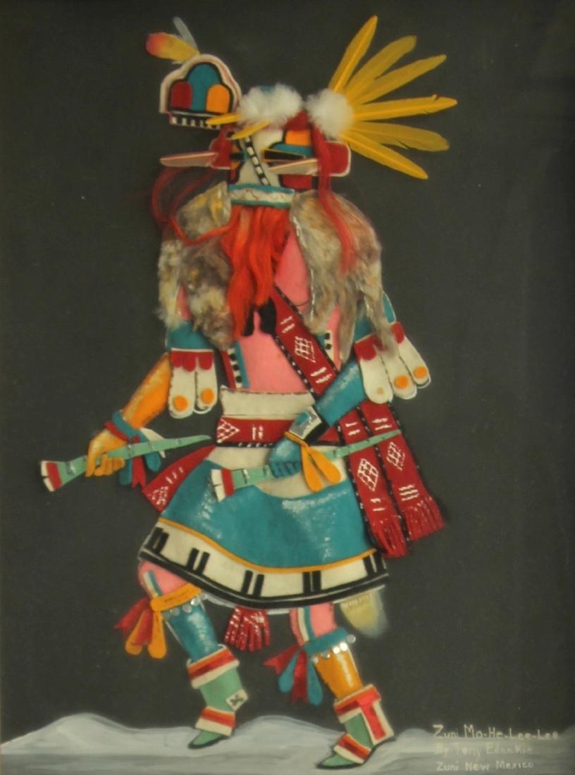 Vintage Zuni Dancer Felt Art - 2