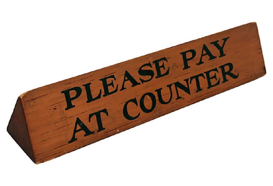 Vintage Please Pay at Counter Sign