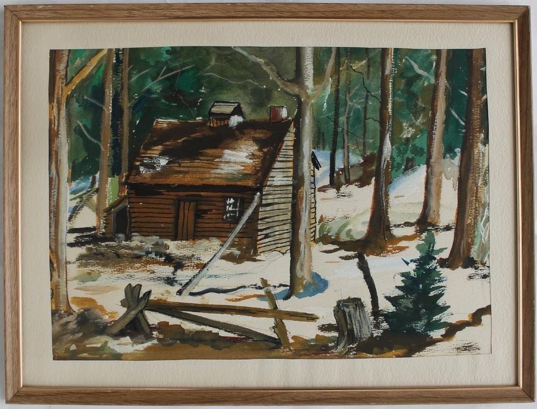 Cabin in Snow Watercolor