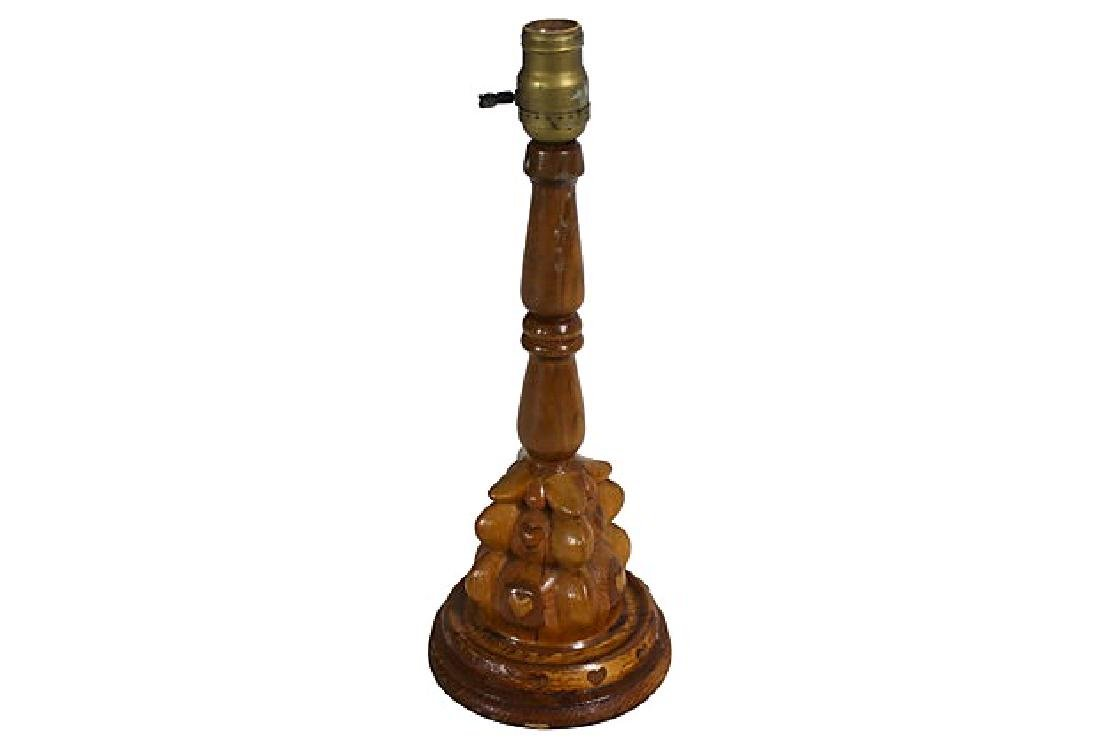 Vintage Hand Crafted Folk Art Heart Lamp