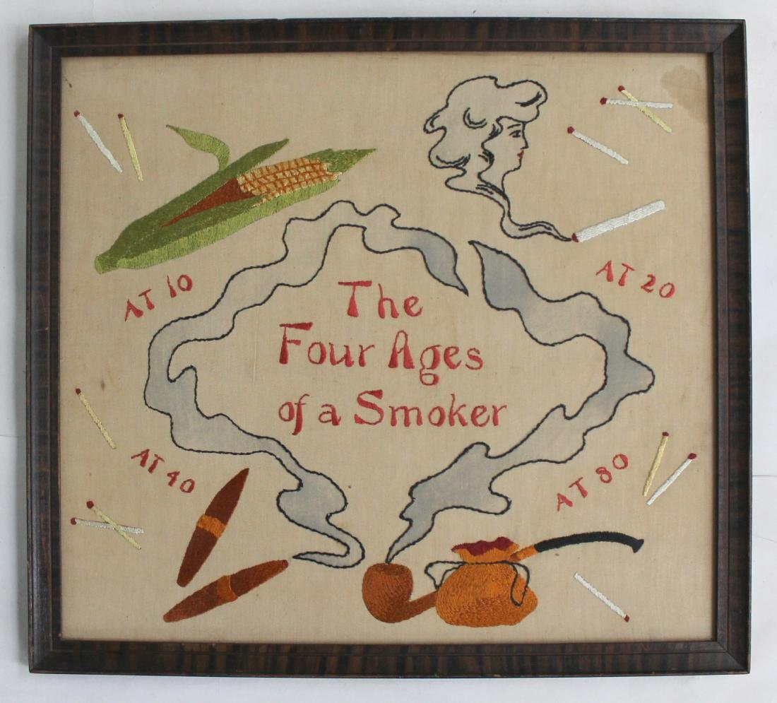 Four Stages of a Smoker Embroidery