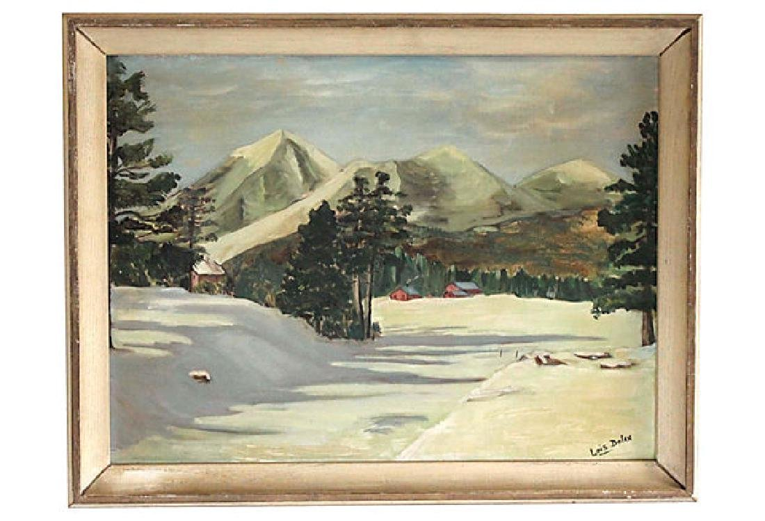 Cabins in Mountains Painting