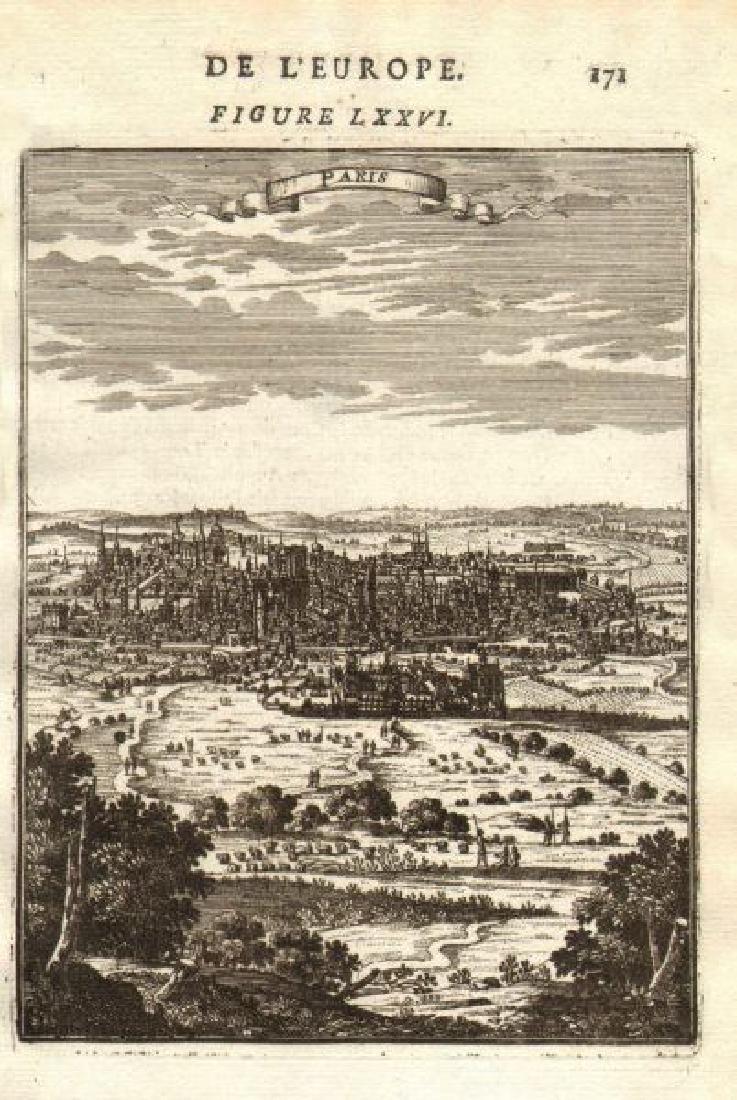 Mallet: Antique View of Paris, France 1683