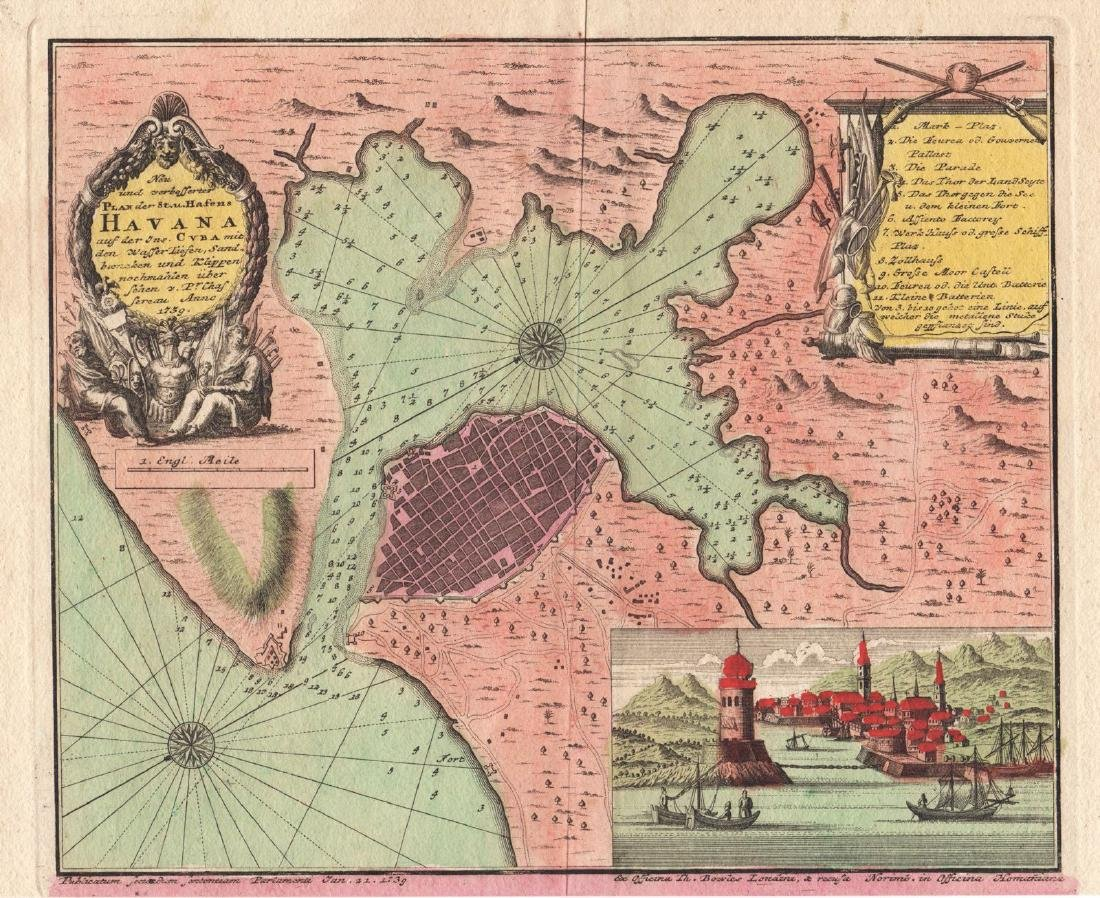 Homann Heirs: Antique Plan of Havana and Harbor, 1739