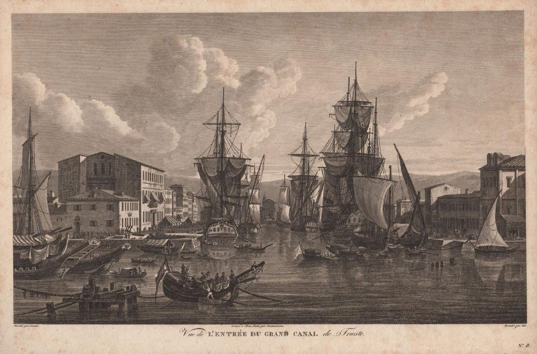 Cassas: Antique View of Trieste's Grand Canal, 1802