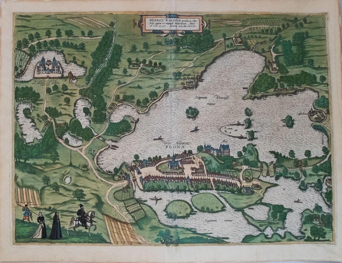 Braun & Hogenberg: Antique Birds Eye View of Plon, 1596