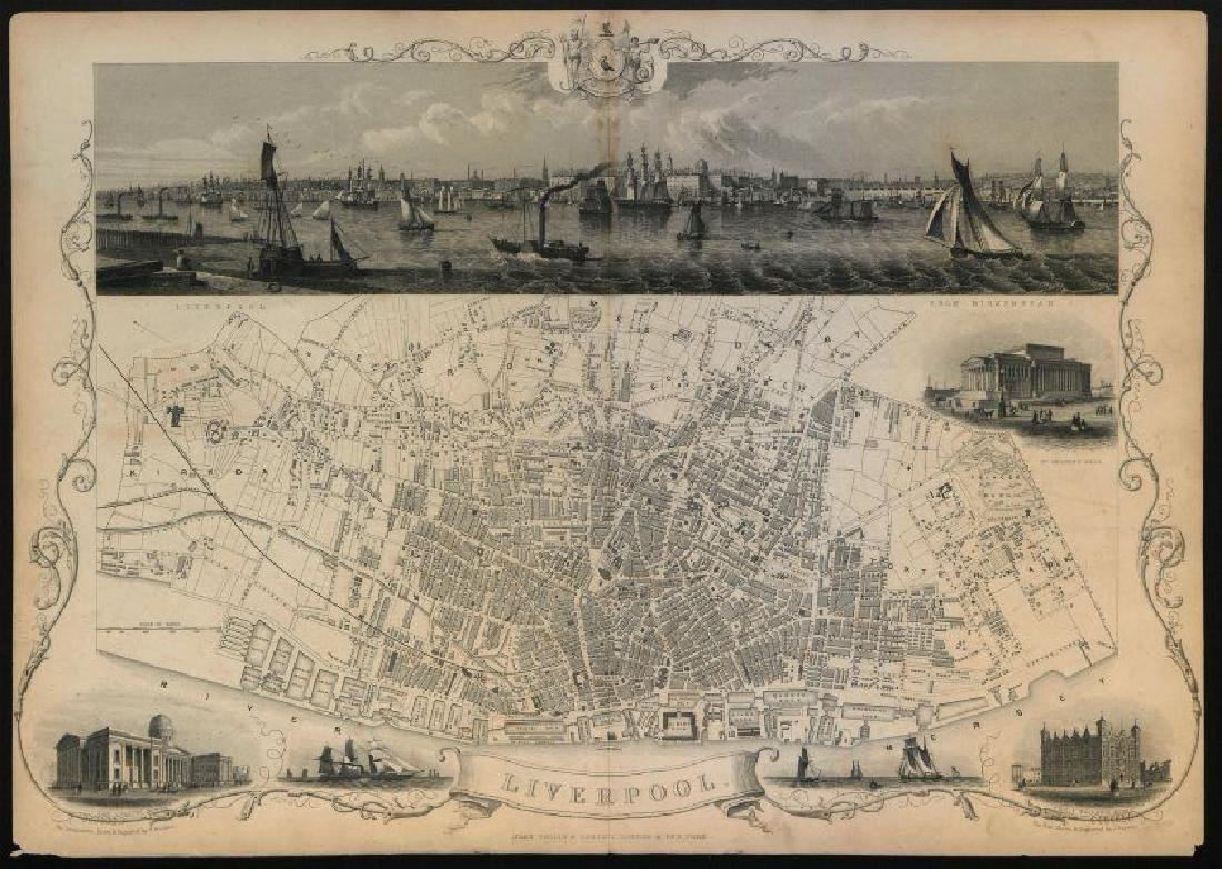 Tallis/Rapkin: Antique Map of Liverpool, 1851