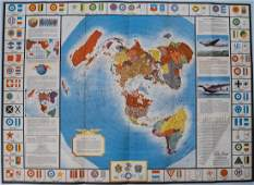 Vintage Polar Projection of WWII World Pictorial Map