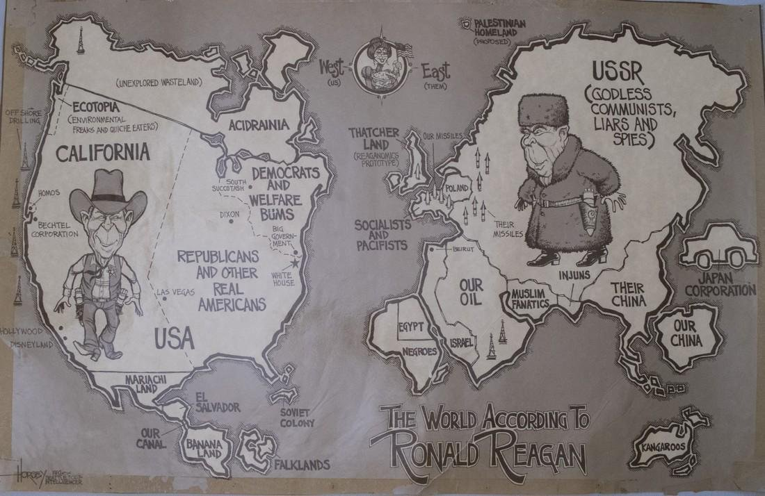 Horsey: Pictorial Map World According to Ronald Reagan