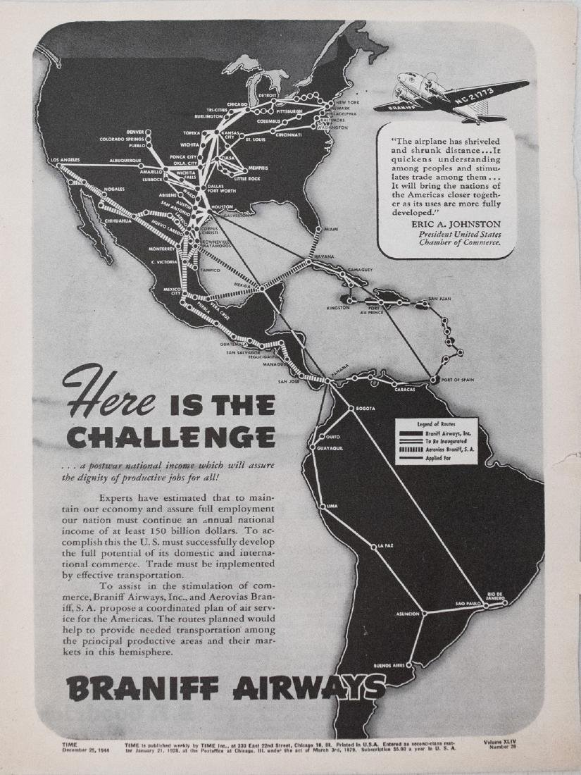 Braniff Airlines: Vintage Map of Americas Routes, 1944