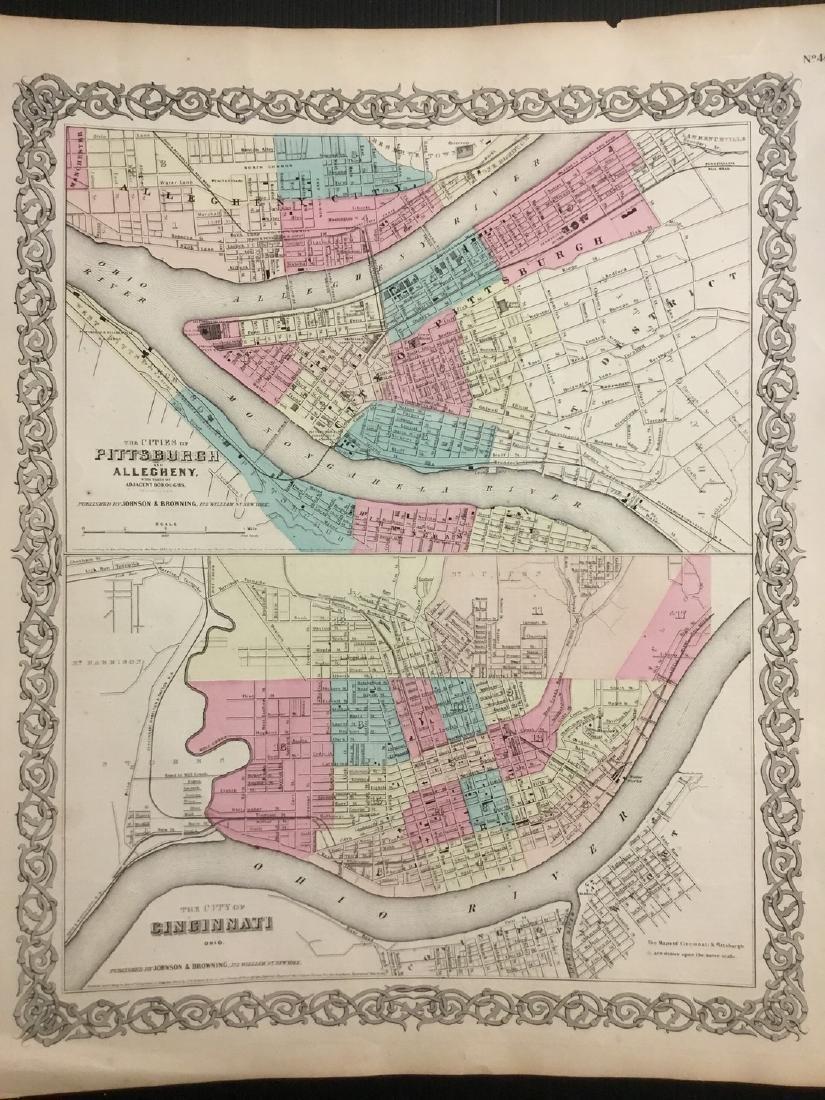 Colton: Antique Map of Pittsburg & Cincinnati, 1859