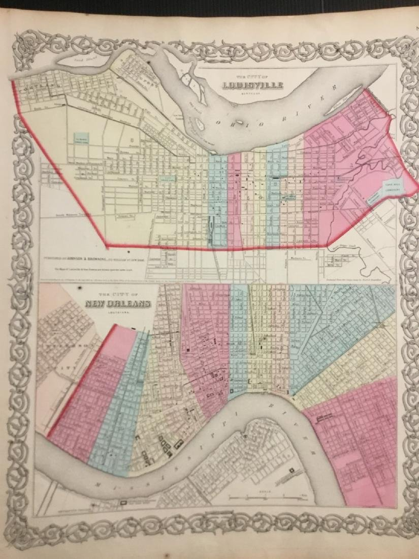 Colton: Antique Map of Louisville & New Orleans, 1859