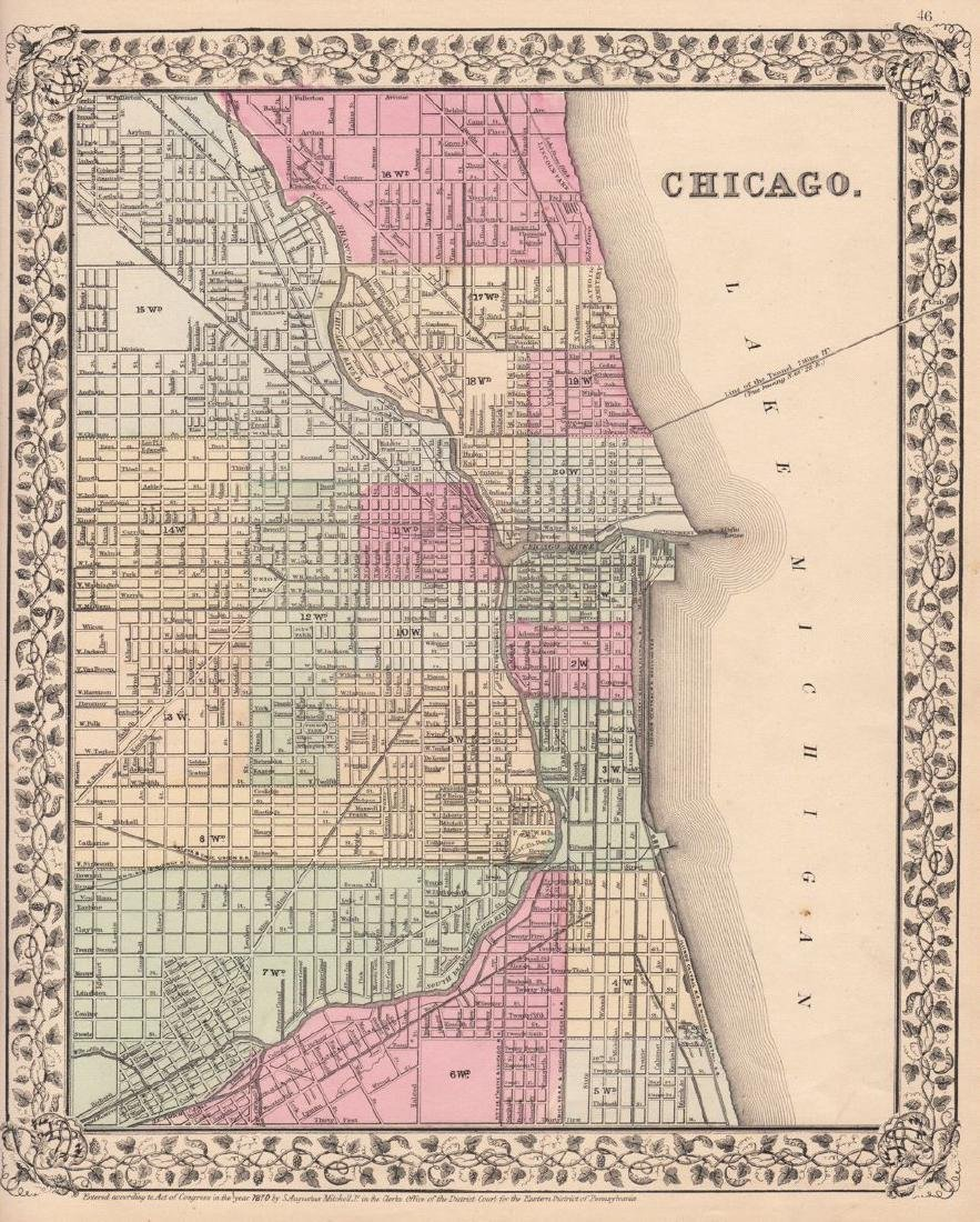Mitchell: Antique Plan of Chicago, 1870