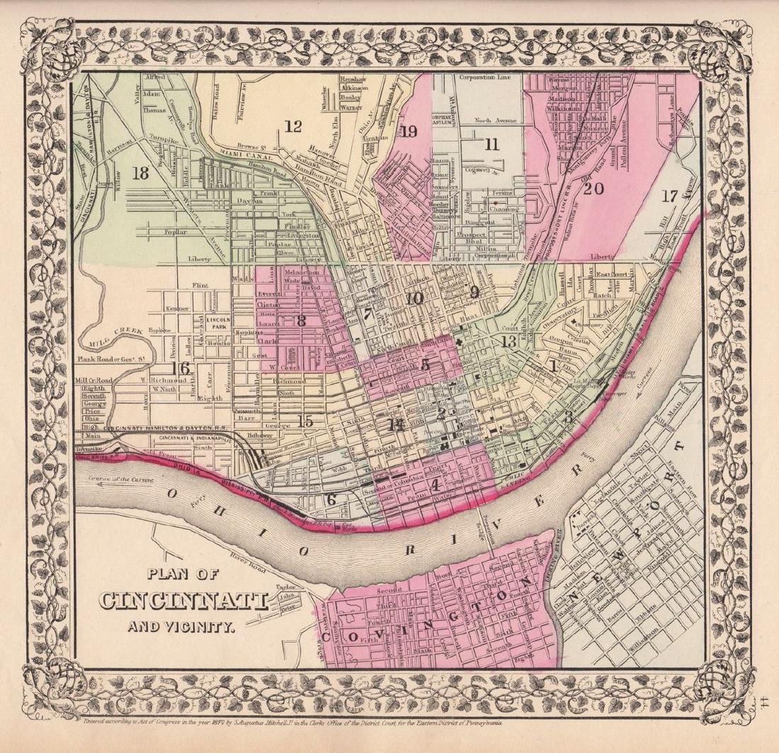Mitchell: Antique Plan of Cincinnati, 1870