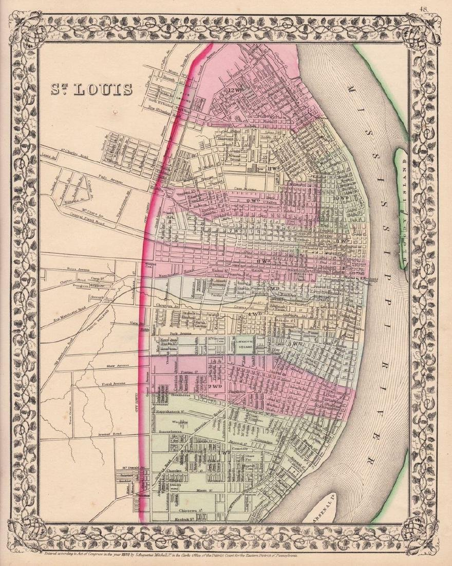 Mitchell: Antique Plan of St. Louis, 1870