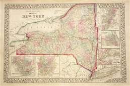 Mitchell Antique Map of New York State w city insets