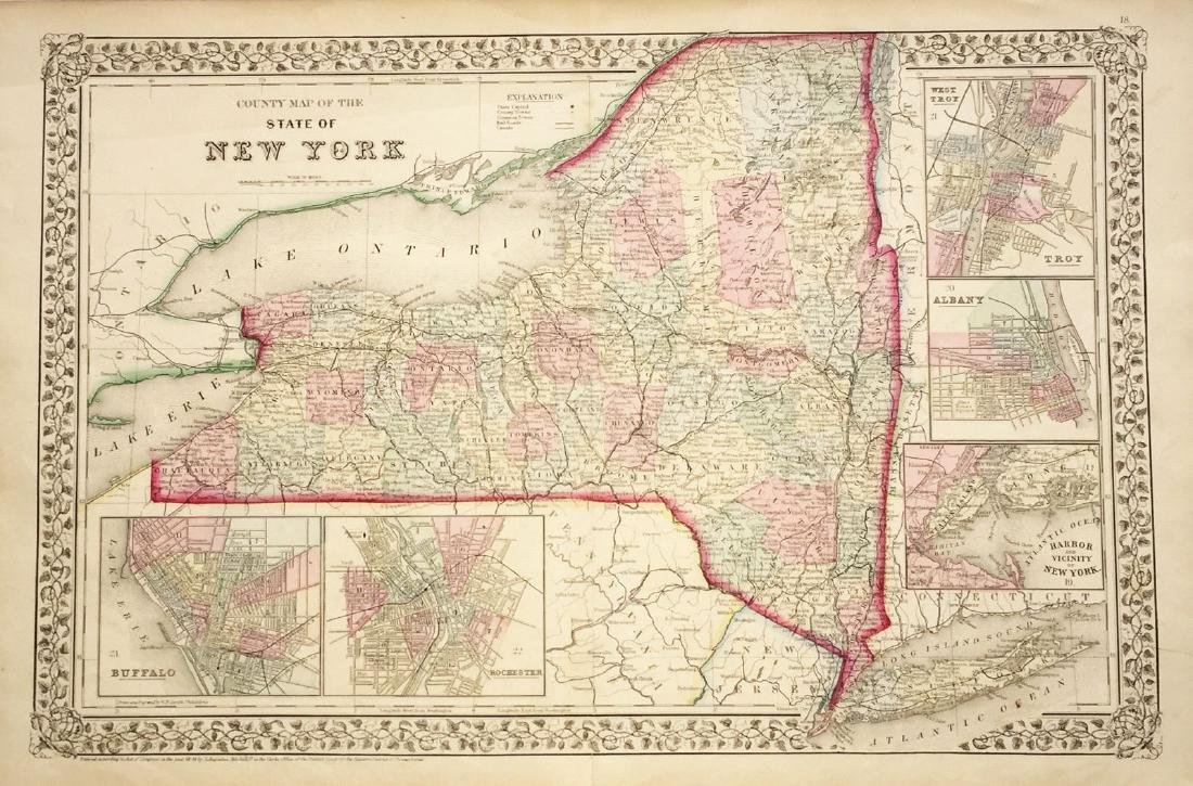 Mitchell: Antique Map of New York State w/ city insets