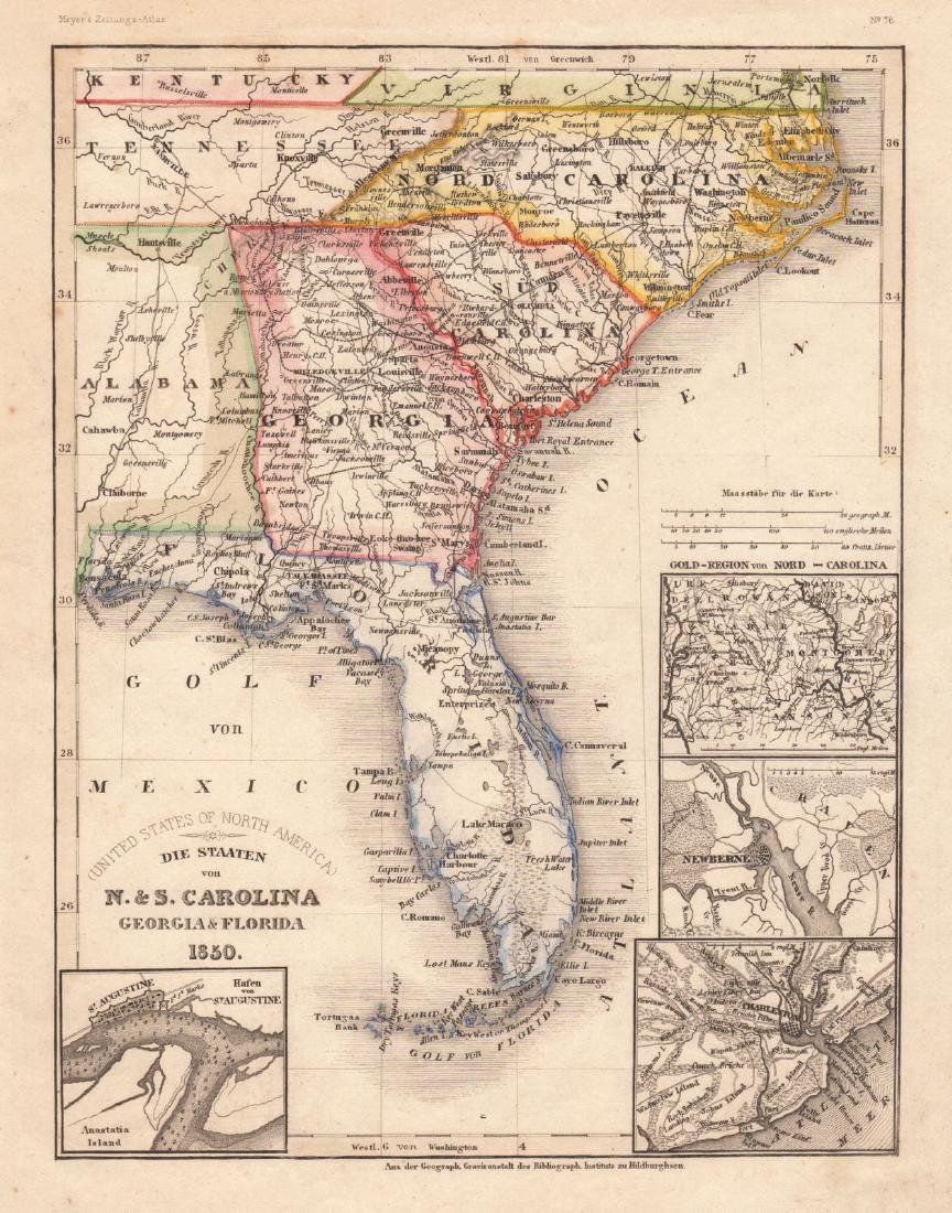 Graessl: Antique Map of U.S. Southeast with city insets