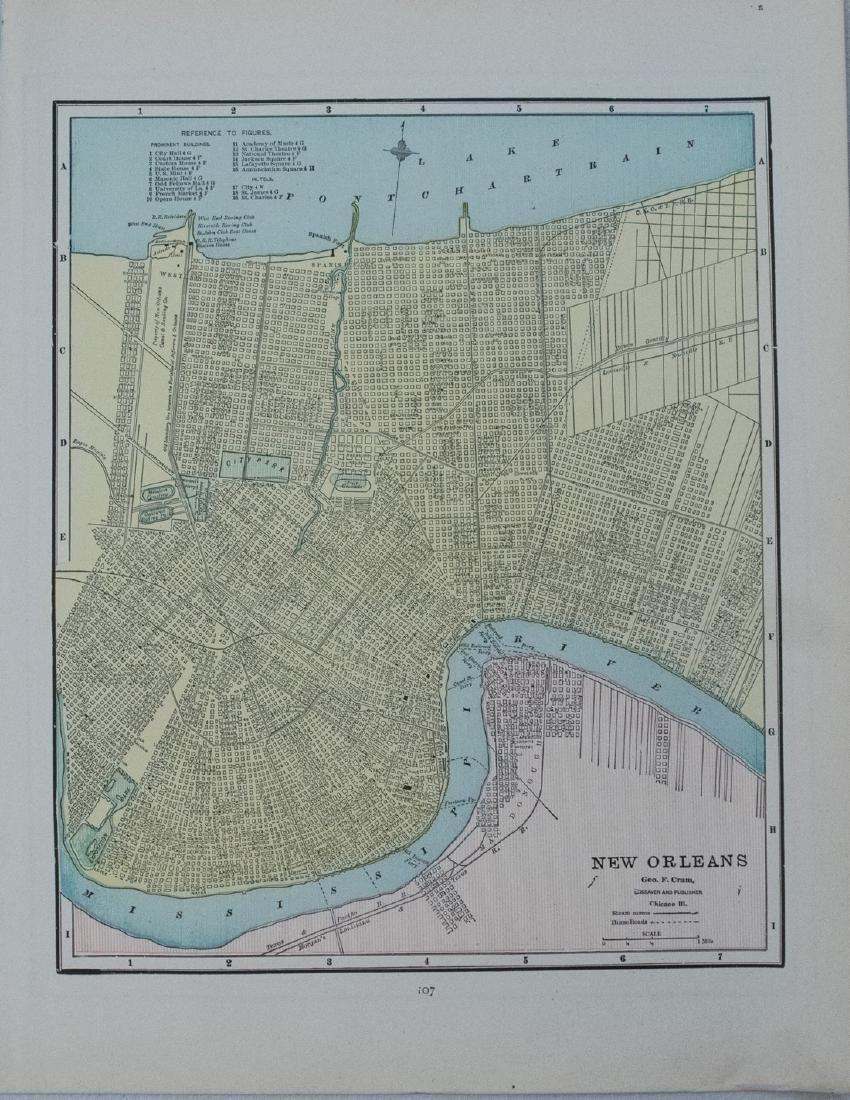 Cram: Antique Map of New Orleans verso Atlanta 1891