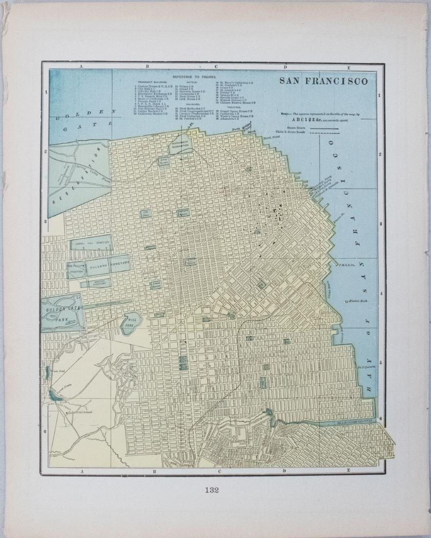 Cram: Antique Map of San Francisco & Dallas, 1897