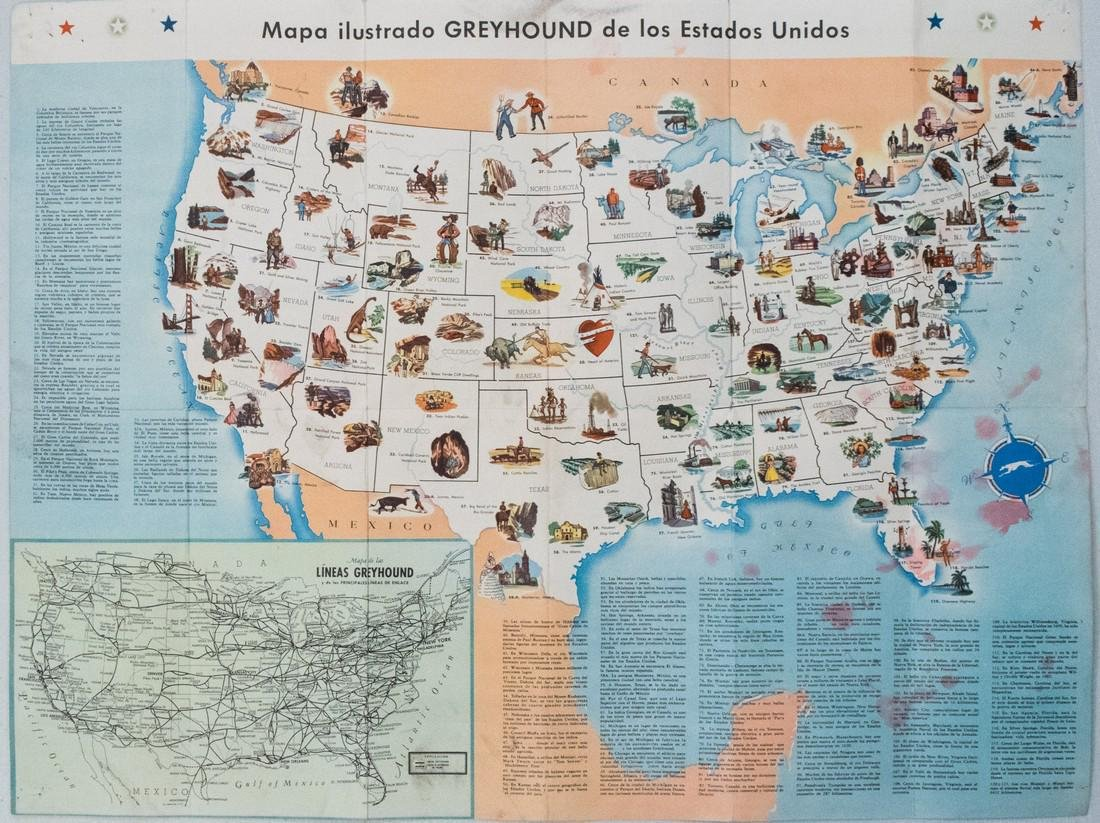 Vintage Greyhound Bus Line Pictorial US Map, 1946