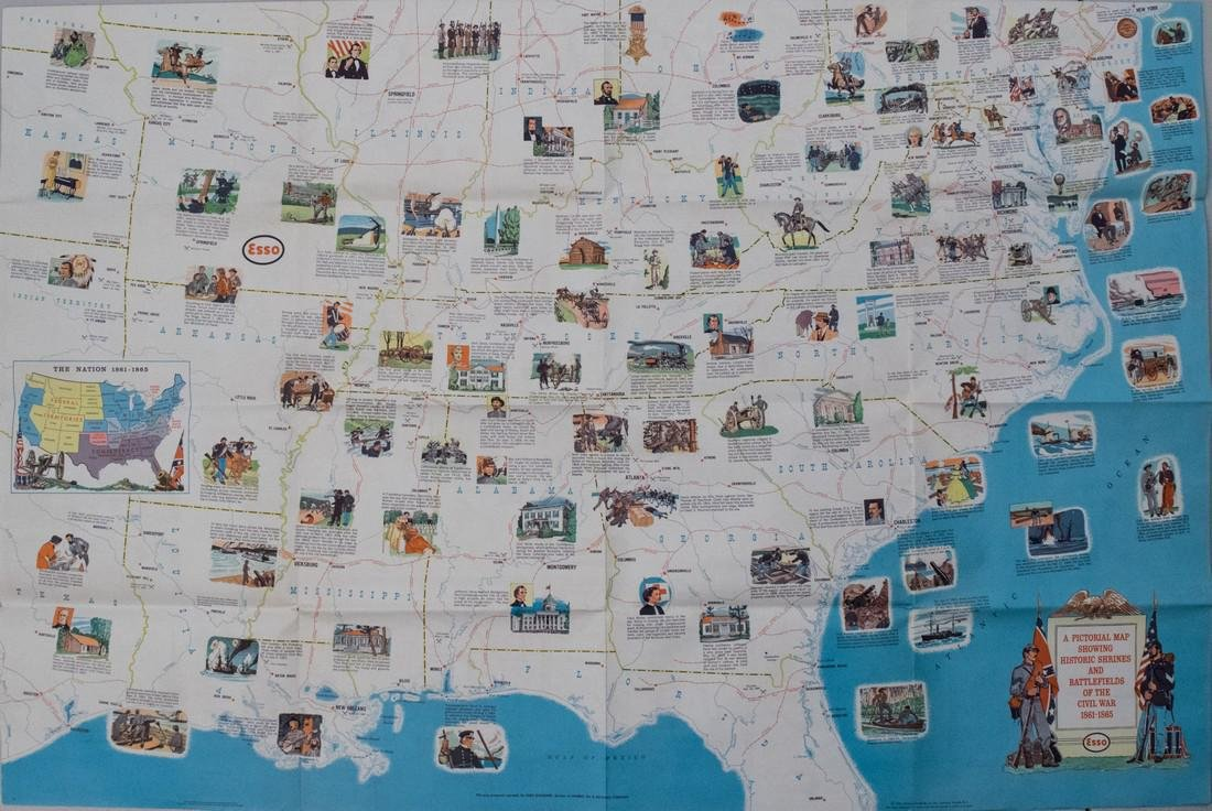 1961 General Drafting Co./Esso Civil War Pictorial Map