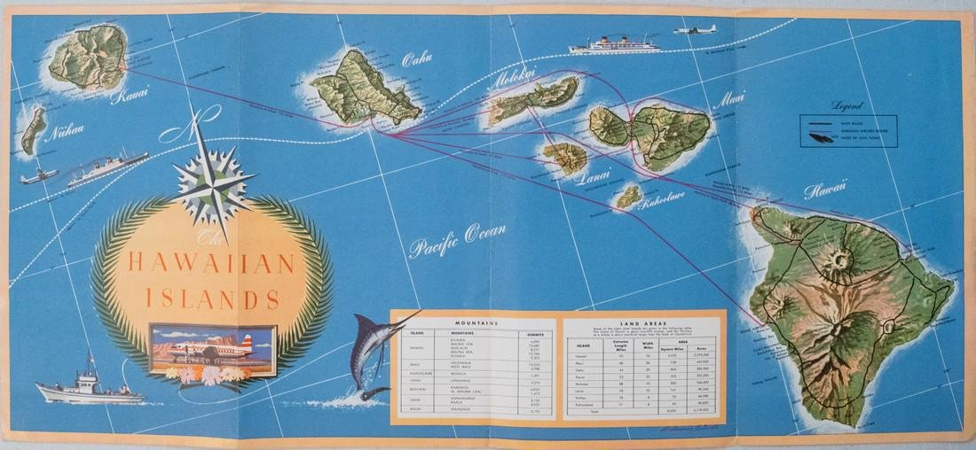 Vintage Hawaiian Airline Route Map of Hawaii, 1953