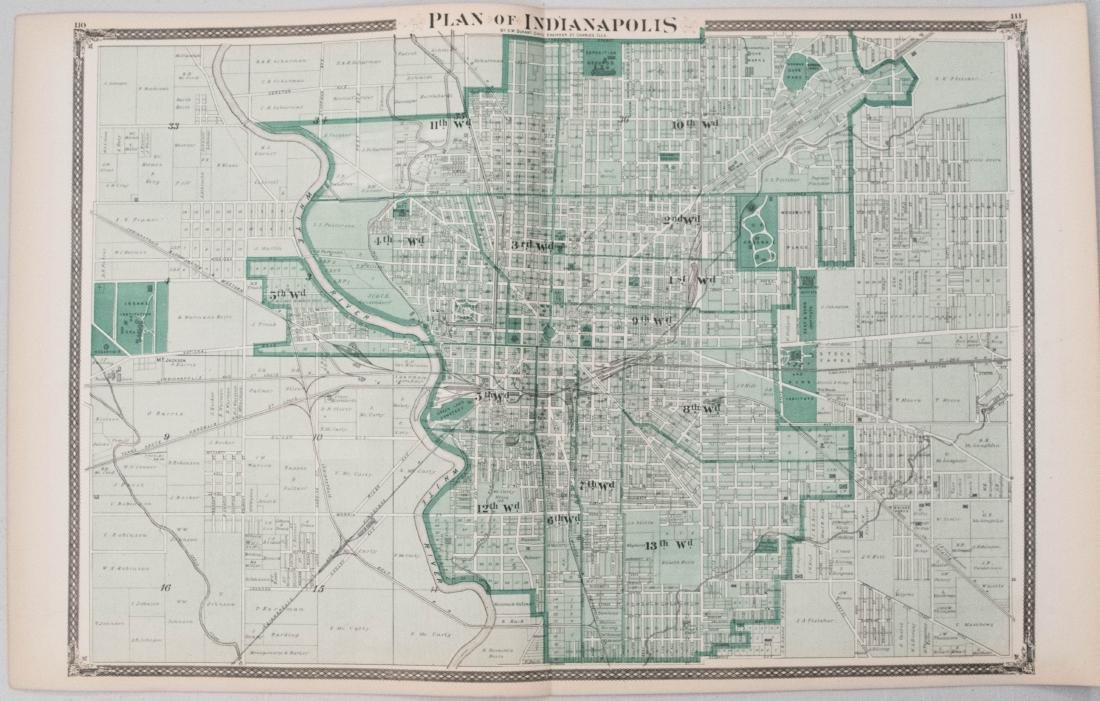 Durant: Antique Map of Indianapolis 1876