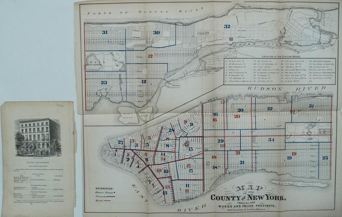 Hardy: Antique Map New York City Police Districts, 1871