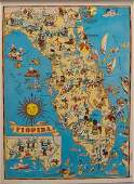 1938 R Taylor White Pictorial Map of Florida