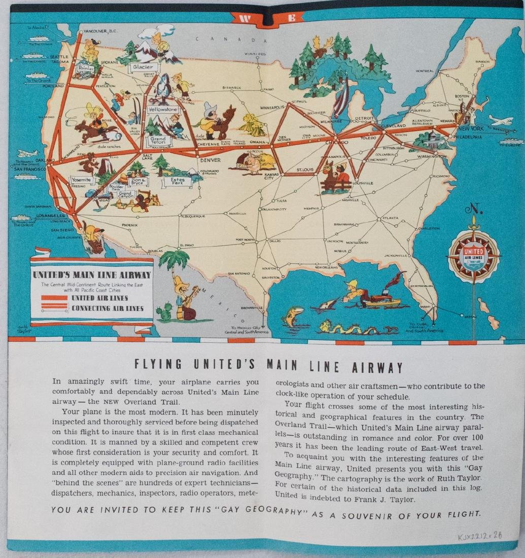 Pictorial Map Set of United States for United Airlines
