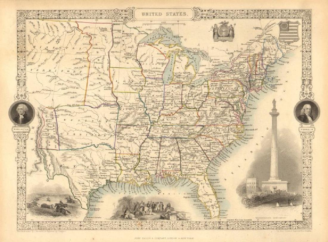 Tallis/Rapkin: Antique Map of the United States, 1851