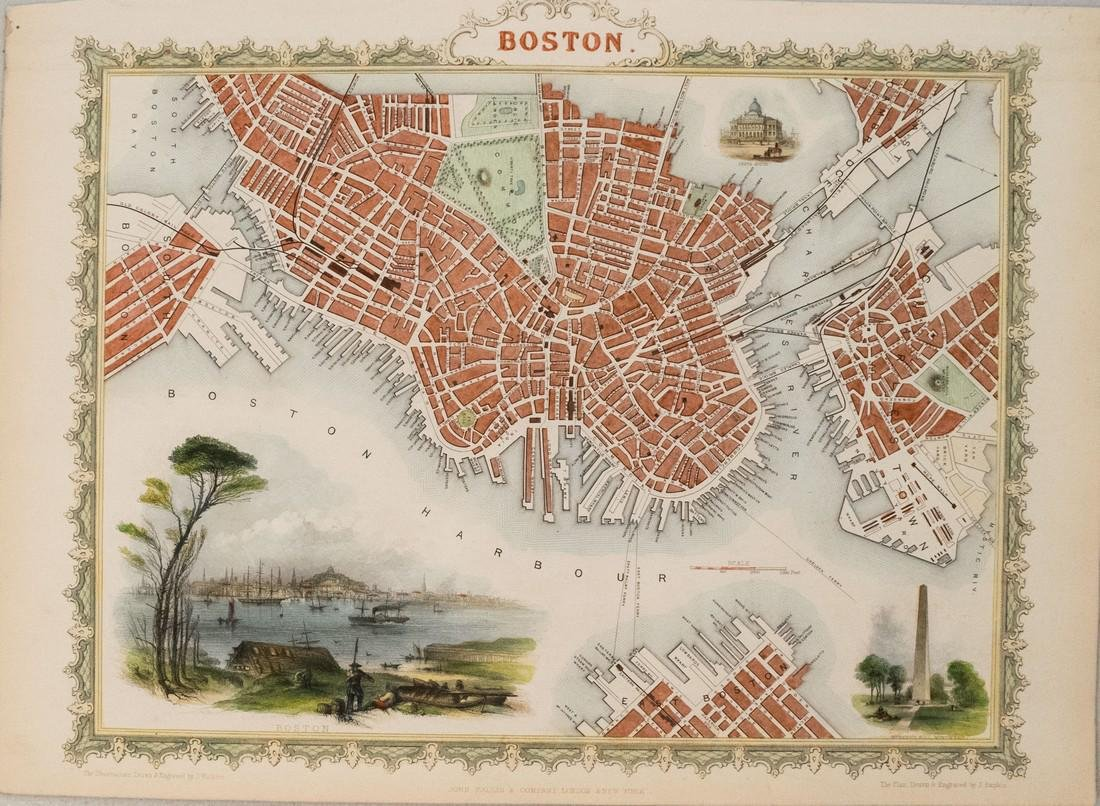 Tallis: Antique Map of Boston, 1851