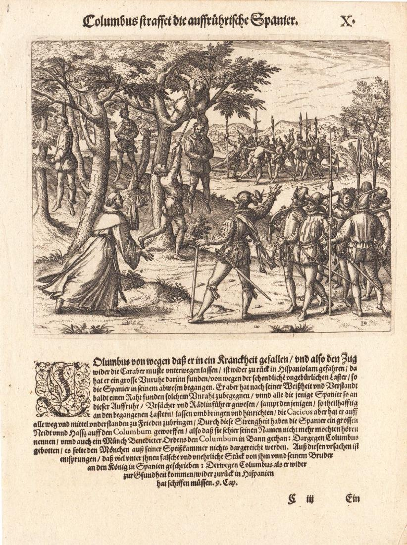 de Bry: Columbus Hangs Rebels in Hispaniola, 1594