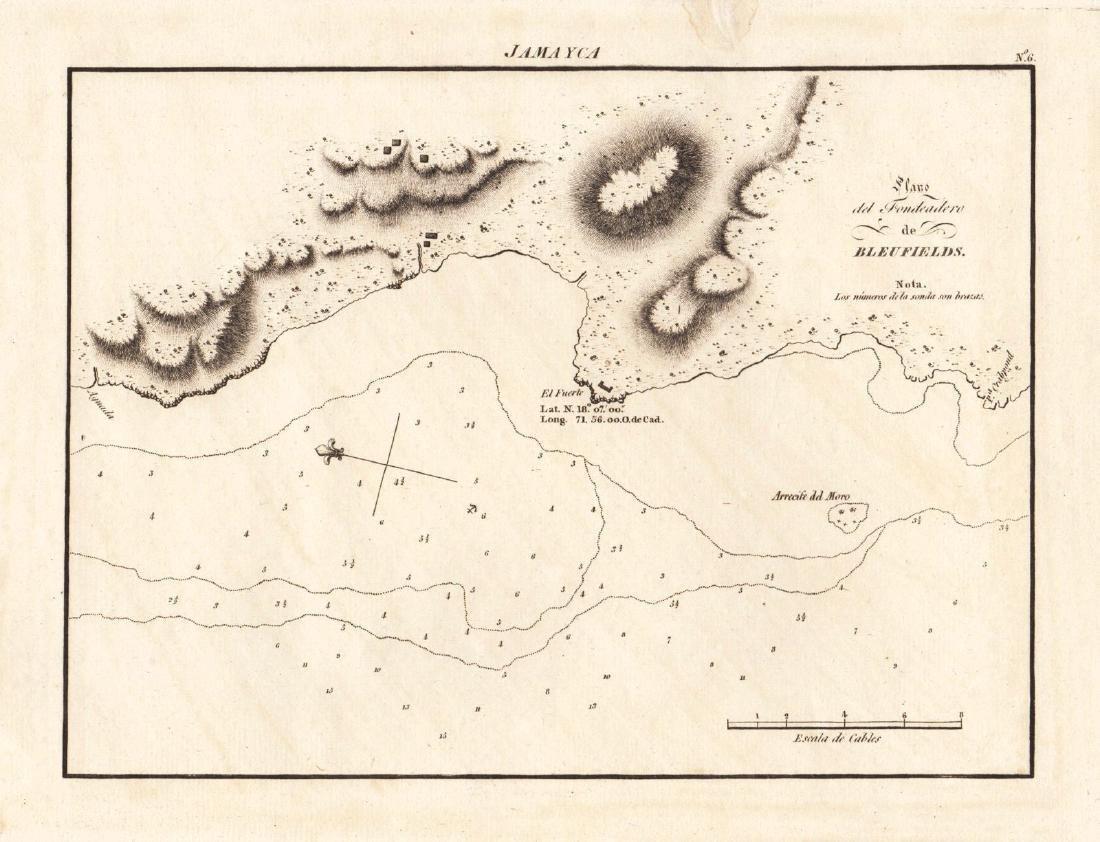 Spanish Admiralty: Chart of Bluefields, Jamaica, 1809