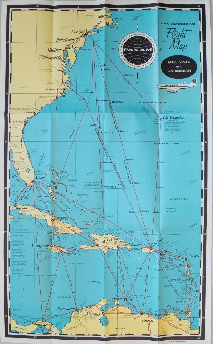 Vintage 1950s PanAm Route Map of Caribbean