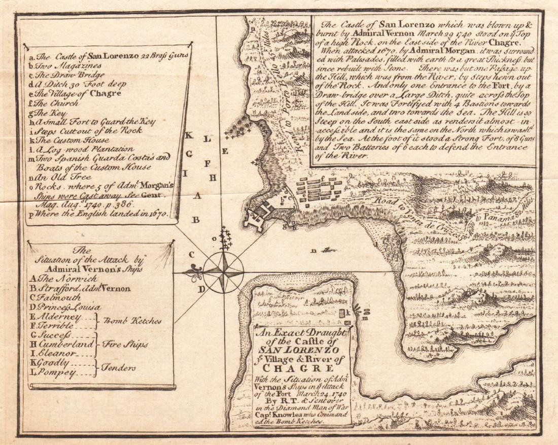 Gentlemen's Magazine: Map of Chagres, Panama, 1740