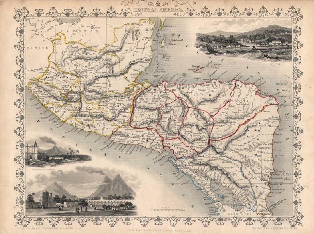Tallis/Rapkin: Antique Map of Central America, 1851