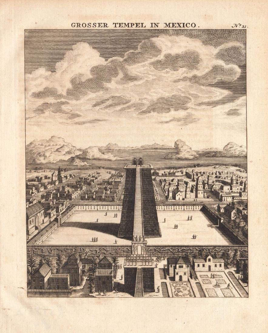 Bellin: The Great Temple, Aztec Mexico City, 1760