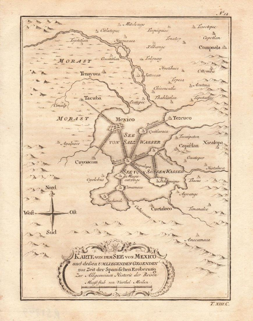 Bellin: Antique Map of Ancient Mexico City Region, 1760