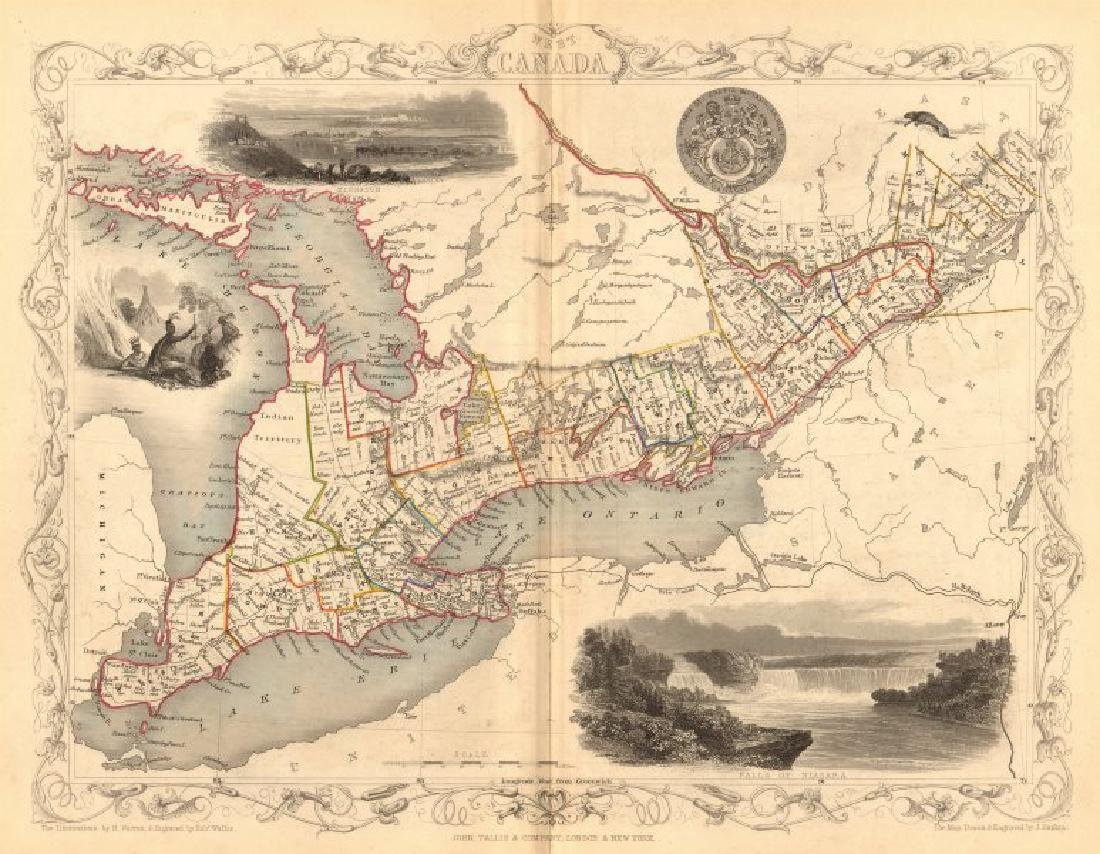 Tallis/Rapkin: Antique Map of West Canada, 1849
