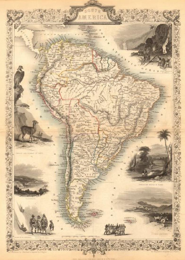 Tallis/Rapkin: Antique Map of South America, 1849