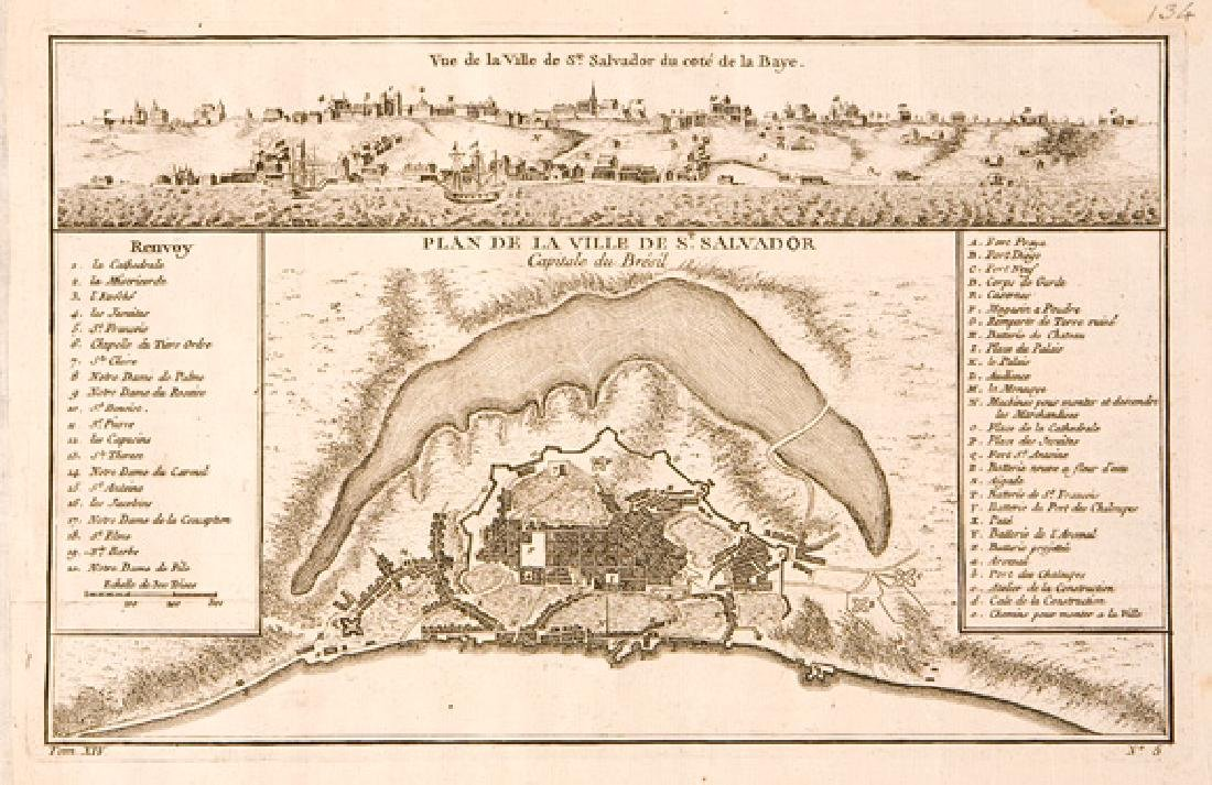 Bellin: Antique Plan of Salvador da Bahia, Brazil, 1750