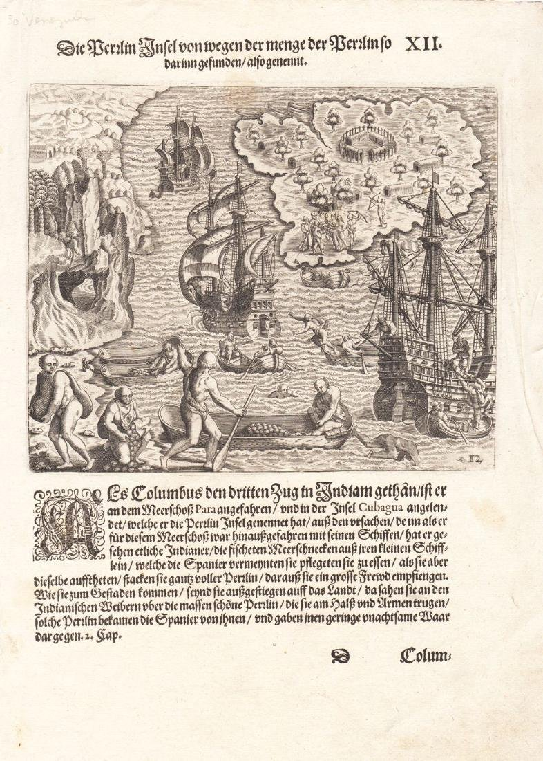de Bry: Columbus on the Isle of Pearls, Venezuela 1594
