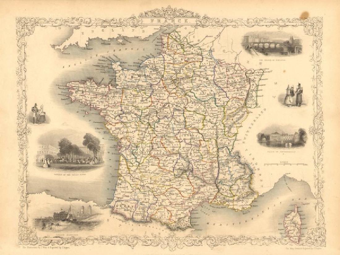 Tallis/Rapkin: Antique Map of France, 1851